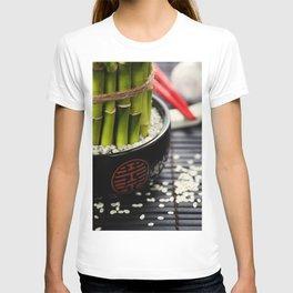 Chopsticks and a lucky bamboo plant T-shirt