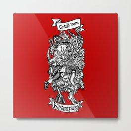 Season's Beatings - Krampus - Lino Print Metal Print