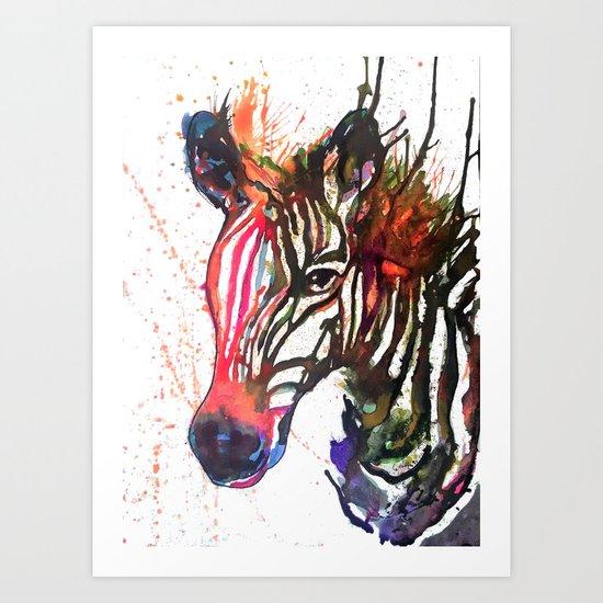 Zebra Splash Art Print