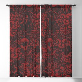 Red doodle Blackout Curtain