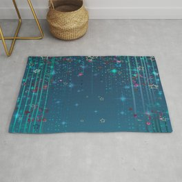 Magic fairy abstract shiny background with stars Rug