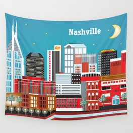 Nashville, Tennessee - Skyline Illustration by Loose Petals Wall Tapestry