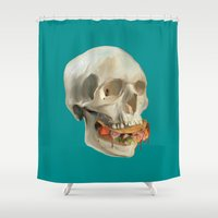 taco Shower Curtains featuring Death By Taco by Fontolia (Katie Blaker)