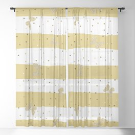 Gold Butterfly on Gold and White Stripes Sheer Curtain