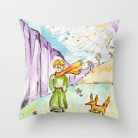 le petit prince Throw Pillows featuring Le petit prince by Colorful Simone