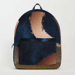 Navy Blue, Gold And Copper Abstract Art Backpack