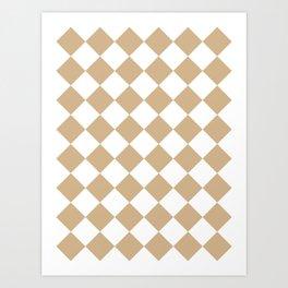 Large Diamonds - White and Tan Brown Art Print