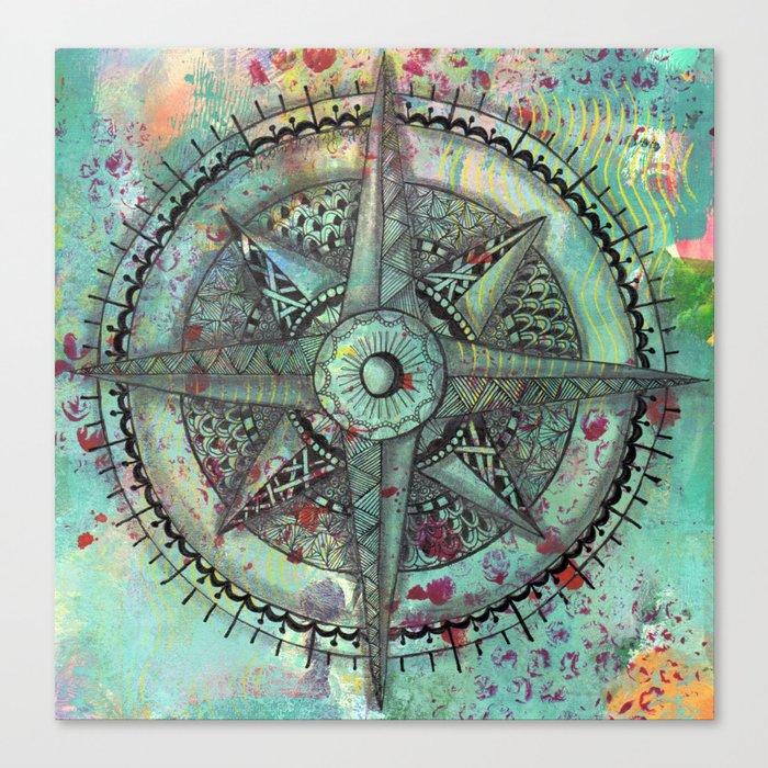 Compass Rose Zentangle Zendoodle Doodle Canvas Print By