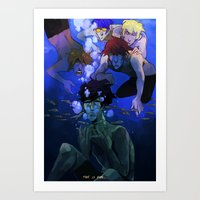 iwatobi Art Prints featuring FREE! IWATOBI SWIM CLUB by Frank Odlaws