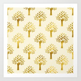 Cream Gold Foil 02 Art Print