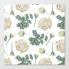 Flower Shop Ivory Cream Roses Pattern Canvas Print