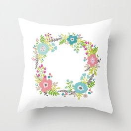 Floral fresh spring wreath Throw Pillow