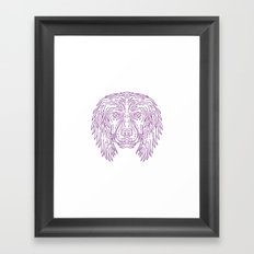 English Cocker Spaniel Dog Head Mono Line Framed Art Print