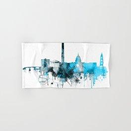 Washington DC Monochrome Blue Skyline Hand & Bath Towel