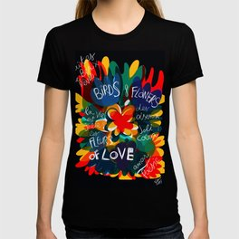 Birds & Flowers of Love Abstract Art Pattern Illustration T-shirt