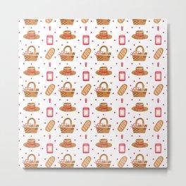 Modern brown pink hand painted watercolor picnic pattern Metal Print