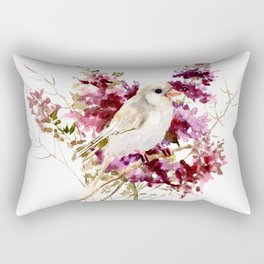 White Canary Bird and Purple Flowers Rectangular Pillow