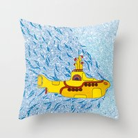 yellow submarine Throw Pillows featuring My Yellow Submarine by Cris Couto