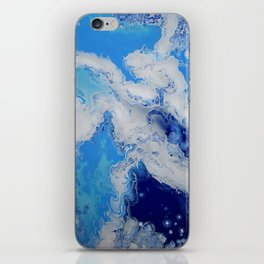 Caribbean Blue Fluid Turquoise Navy White Abstract Painting iPhone Skin