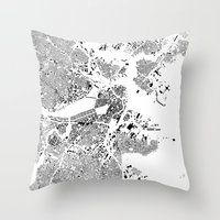 boston map Throw Pillows featuring Boston Map Schwarzplan Only Buildings by City Art Posters