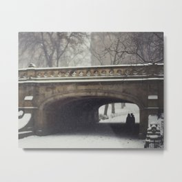 Couple in the Snow in Central Park Metal Print