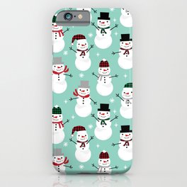 Snowman gender neutral mint white and black holiday pattern kids room decor seasonal iPhone Case