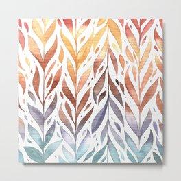 Watercolor Autumn Leaves Metal Print