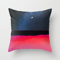 moon phase Throw Pillows featuring New Moon - Phase III by Marina Kanavaki