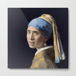 The Nic With the Pearl Earring (Nicholas Cage Face Swap) Metal Print