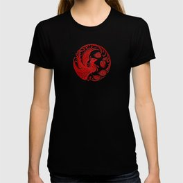 Traditional Red and Black Chinese Phoenix Circle T-shirt