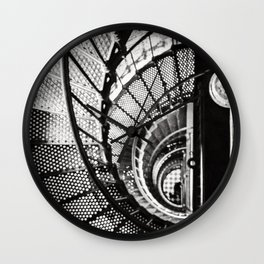 Spiral staircase black and white Wall Clock