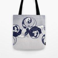 yin yang Tote Bags featuring Yin & Yang by Charity Ryan
