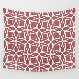 Red and White Line Art Flower Petal Pattern 2022 Color Trends Behr Lingonberry Punch M150-6 Wall Tapestry