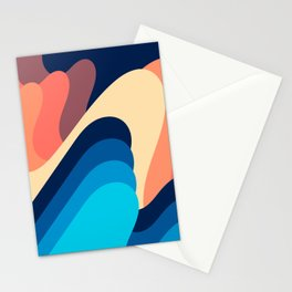 Retro 70s and 80s Abstract Art Mid-century Waves Dark Night Mode Stationery Cards