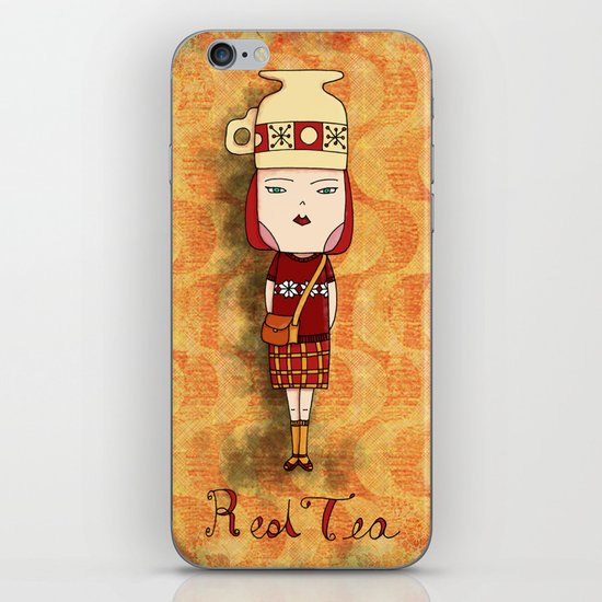 Red Tea Girl iPhone & iPod Skin
