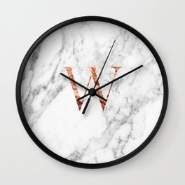 Monogram rose gold marble W Wall Clock