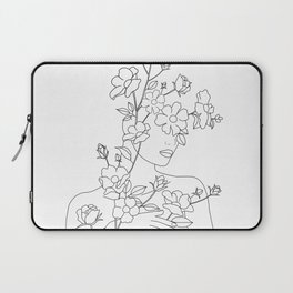 Minimal Line Art Woman with Wild Roses Laptop Sleeve