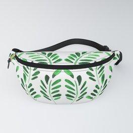 Boho green watercolor leafs Fanny Pack