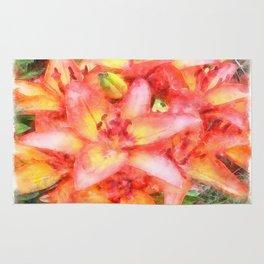Helen's Lilies Watercolor Rug