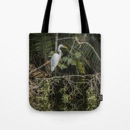 Great White Egret on a Branch Tote Bag