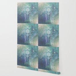 Mandala Flower of Life in Turquoise Stars Wallpaper