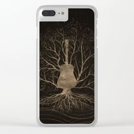 Guitar Music Tree - Gold and Browns Clear iPhone Case