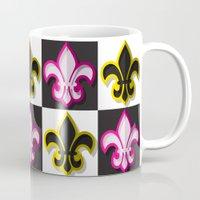 fleur de lis Mugs featuring Fleur de lis pattern by Rceeh