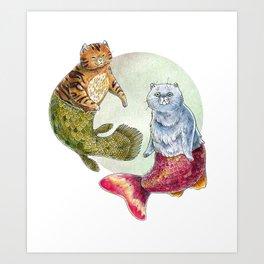 Purrmaids Art Print