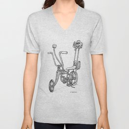 Cartoon Retro Mod Stingray 8-Track Muscle Bike Bicycle Stingray Unisex V-Neck