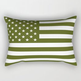U.S. Flag: Military Green Rectangular Pillow