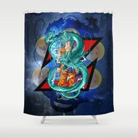 dbz Shower Curtains featuring DBZ - Goku Super Saiyan God by Mr. Stonebanks