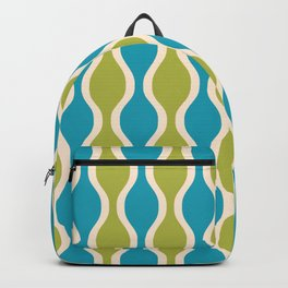 Classic Retro Ogee Pattern 852 Turquoise and Olive Backpack