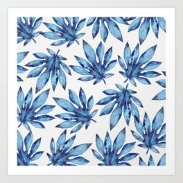 Tropical leaves - blue Art Print