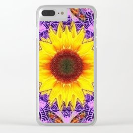 ABSTRACTED PURPLE-GOLD  SUNFLOWER ART Clear iPhone Case